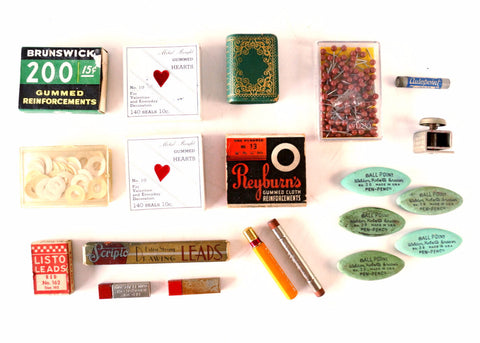 Vintage Instant Office Supply Collection, Leads, Erasers, Stickers, Map Pins (c.1950s)