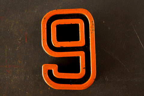 "Vintage Industrial Number ""9"" / ""6"" Black with Orange and Blue Paint, 2"" tall (c.1940s) - thirdshift"