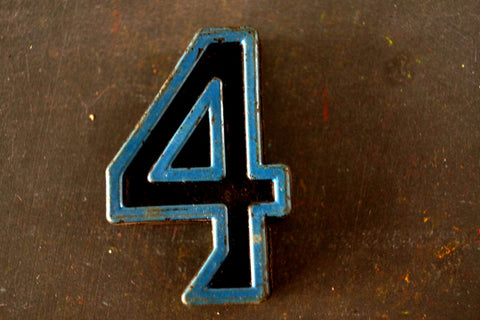 "Vintage Industrial Number ""4"" Black with Blue and Orange Paint, 2"" tall (c.1940s) - thirdshift"