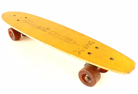 Vintage Roller Derby X24 Skateboard in Yellow, Wood Skateboard (c.1970s) - ThirdShiftVintage.com