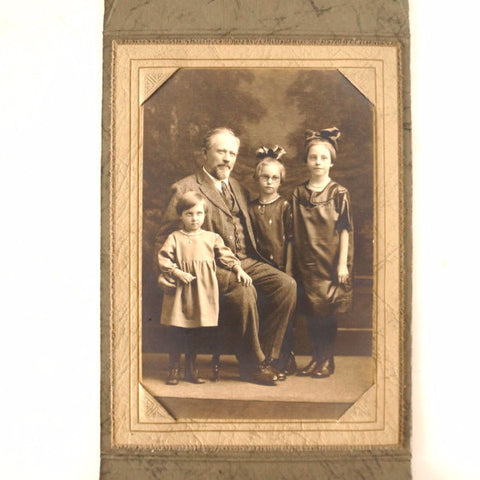 Antique Photograph of Grandfather and 3 Granddaughters (c.1900s) Otto A. Gericke - ThirdShiftVintage.com