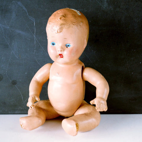 "Vintage Composition Baby Doll with Molded Hair, Jointed Arms, Legs, 10"" (c.1920s) N3 - thirdshift"