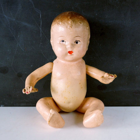 "Vintage Composition Baby Doll with Molded Hair, Jointed Arms, Legs, 9"" (c.1920s) N4 - ThirdShiftVintage.com"