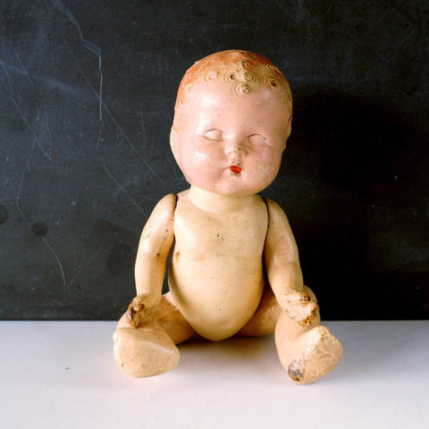 "Vintage Composition Baby Doll with Molded Hair, Jointed Arms, Legs, 9"" (c.1920s) N5 - ThirdShift Vintage"