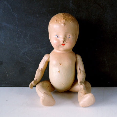 "Vintage Composition Baby Doll with Molded Hair, Jointed Arms, Legs, 10"" (c.1920s) N2 - ThirdShiftVintage.com"