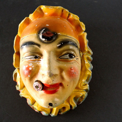 Vintage Smoking Clown Chalkware String Holder Face with Cigar (c.1940s) - ThirdShiftVintage.com