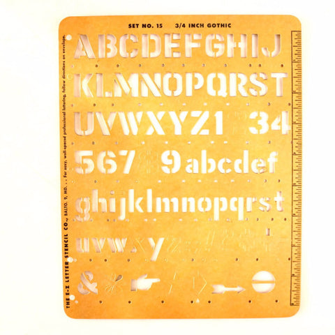"Vintage E-Z Lettering Co. Stencil No. 15 Set (c.1955) 3/4"" Gothic Letters and Numbers - thirdshift"