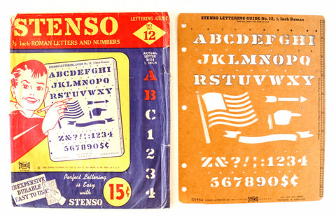 "Vintage STENSO Stencil Set No.12, Original Package (c.1956) 1/2"" Roman Letters Numbers - ThirdShift Vintage"