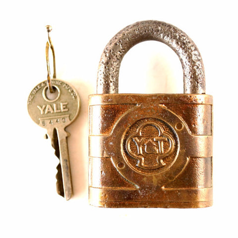 Vintage Yale and Towne Padlock with Trefoil Logo and Original Yale Key (c.1950s) - thirdshift