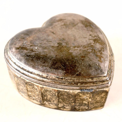 Vintage Heart Shaped Trinket Box, Silverplate Metal (c.1950s) - ThirdShiftVintage.com