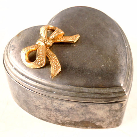 Vintage Heart Shaped Trinket Box with Gold Metal Bow (c.1950s) - ThirdShiftVintage.com