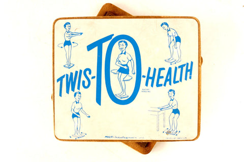 Vintage Twis-TO-Health Twist Board in Blue and White (c1950s) - ThirdShift Vintage