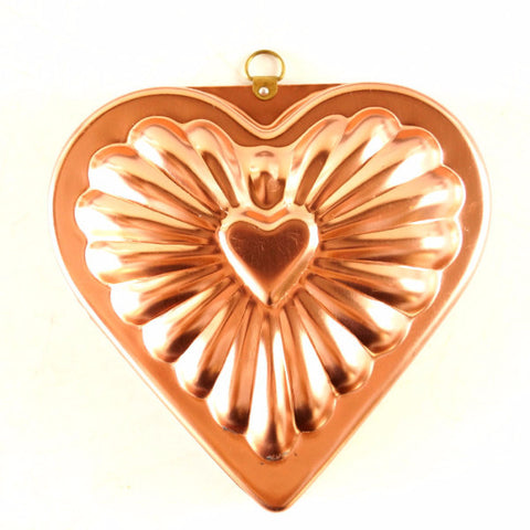 Vintage Aluminum Heart Shaped Jello Mold in Dark Pink Copper (c.1970s)