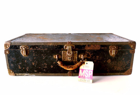 Vintage Black Metal Suitcase / Luggage, Metal Trim and Leather Handle (c.1940s) - thirdshift