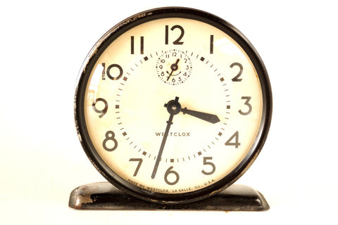 Vintage Westclox Alarm Clock in Black and Ivory (c.1943) - thirdshift