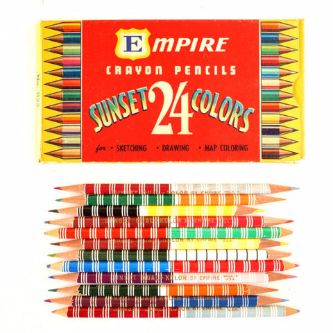 Vintage Dual Kolor Double-Sided Colored Pencils in Original Box of 24 (c.1950s) N1 - ThirdShiftVintage.com