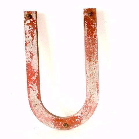"Vintage Industrial Metal Letter ""U"" Marquee Sign, 10 inches tall (c.1950s) N1 - ThirdShiftVintage.com"