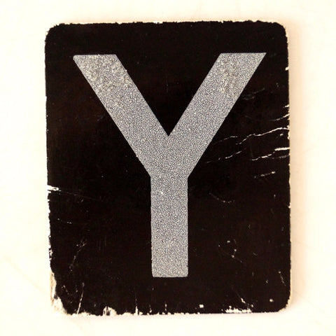 "Vintage Alphabet Letter ""Y"" Card with Textured Surface in Black and White (c.1950s) - ThirdShiftVintage.com"