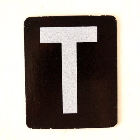 "Vintage Alphabet Letter ""T"" Card with Textured Surface in Black and White (c.1950s) - ThirdShift Vintage"