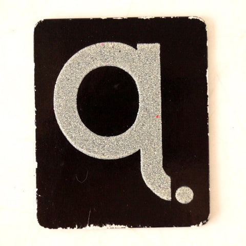 "Vintage Alphabet Letter ""Q"" Card with Textured Surface in Black and White (c.1950s) - ThirdShiftVintage.com"