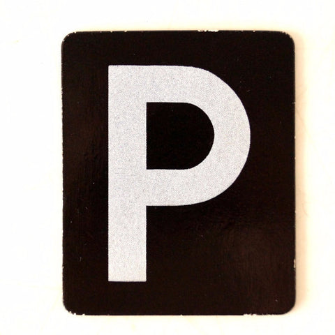 "Vintage Alphabet Letter ""P"" Card with Textured Surface in Black and White (c.1950s) - ThirdShift Vintage"