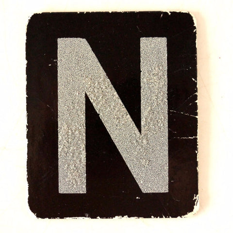 "Vintage Alphabet Letter ""N"" Card with Textured Surface in Black and White (c.1950s)"