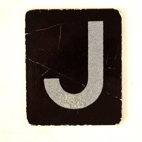 "Vintage Alphabet Letter ""J"" Card with Textured Surface in Black and White (c.1950s)"