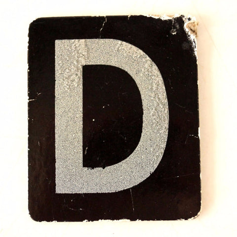 "Vintage Alphabet Letter ""D"" Card with Textured Surface in Black and White (c.1950s)"