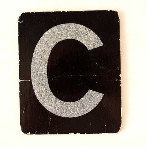 "Vintage Alphabet Letter ""C"" Card with Textured Surface in Black and White (c.1950s) - ThirdShiftVintage.com"