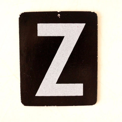 "Vintage Alphabet Letter ""Z"" Card with Textured Surface in Black and White (c.1950s) - ThirdShiftVintage.com"
