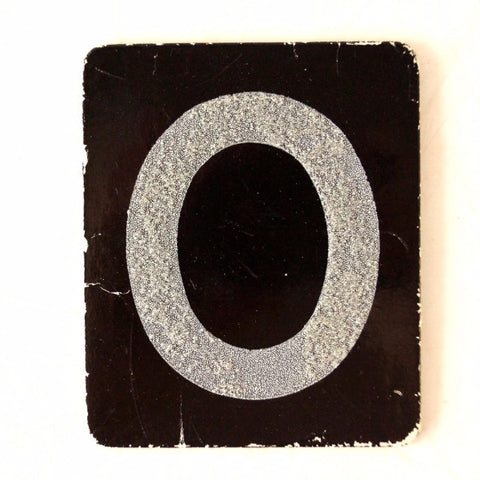 "Vintage Alphabet Letter ""O"" Card with Textured Surface in Black and White (c.1950s)"