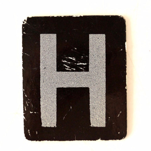 "Vintage Alphabet Letter ""H"" Card with Textured Surface in Black and White (c.1950s)"