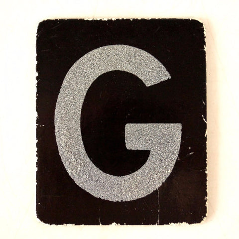 "Vintage Alphabet Letter ""G"" Card with Textured Surface in Black and White (c.1950s)"