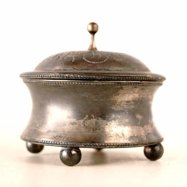 Vintage Collar Button Quadruple Silverplate Box by E.G. Webster and Sons  (c.1910s) ...