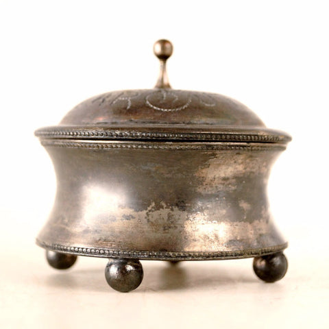 Vintage Collar Button Quadruple Silverplate Box by E.G. Webster and Sons (c.1910s) - ThirdShiftVintage.com