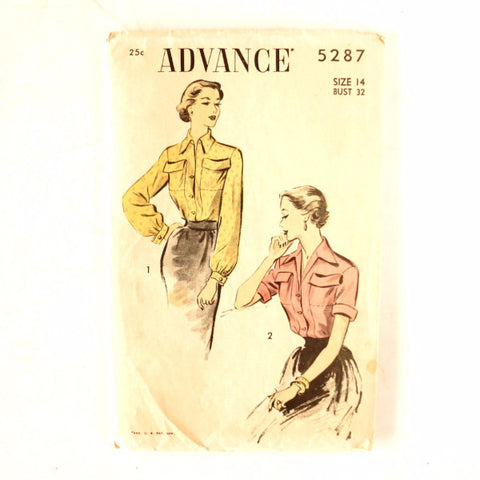 Vintage Advance Pattern 5287, Long /Short Sleeve Blouse (c.1940s) Size 14 Bust 32
