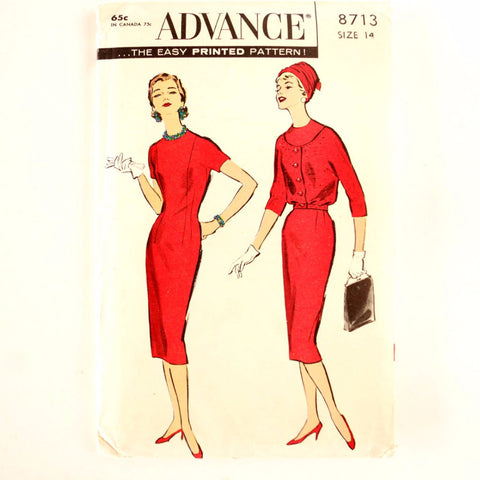 Vintage Advance Pattern 8713, Misses' Sheath & Blouson Jacket (c.1950s) Womens Size 14