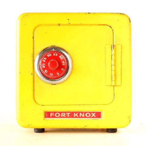 Vintage Fort Knox Metal Bank in Bright Yellow (c.1960s) - ThirdShiftVintage.com