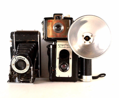 Vintage Camera Collection / Argoflex 75, USCC Folding Comet, Brownie Bullet (c.1950s) - ThirdShiftVintage.com