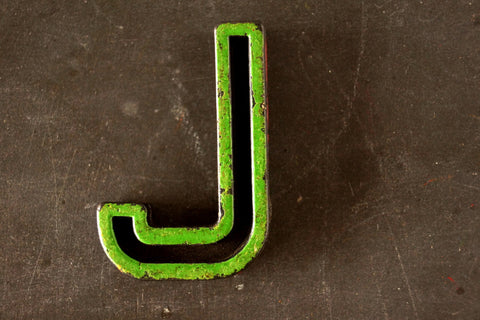 "Vintage Industrial Letter ""J"" Black with Green and Red Paint, 2"" tall (c.1940s) - ThirdShift Vintage"
