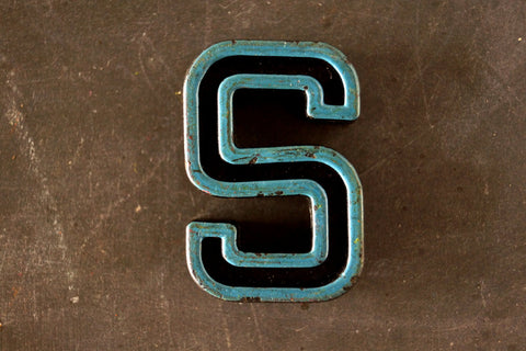 "Vintage Industrial Letter ""S"" Black with Blue and Orange Paint, 2"" tall (c.1940s) - thirdshift"