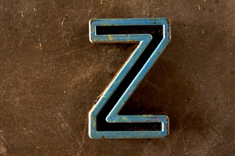 "Vintage Industrial Letter ""Z"" Black with Blue and Orange Paint, 2"" tall (c.1940s) - ThirdShiftVintage.com"