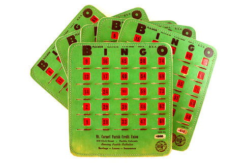 Vintage BINGO Board Cards in Green with See-Thru Red Shutters, PLA-MOR, Set of 6 (1950s) N1 - ThirdShiftVintage.com