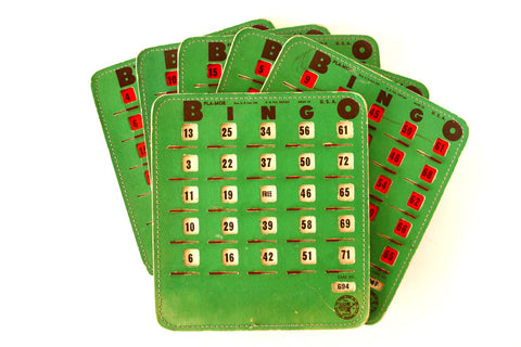 Vintage BINGO Board Cards in Green with See-Thru Red Shutters, PLA-MOR, Set of 6 (1950s) N2 - ThirdShift Vintage