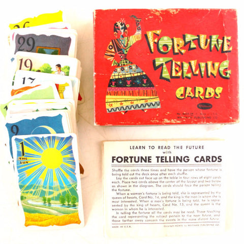 Vintage Fortune Telling Cards, Complete Set of 36 cards in Original Box by Whitman (c.1940)