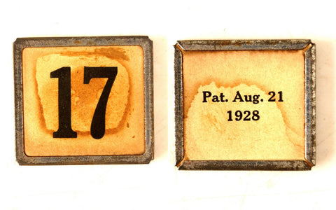 "Vintage Metal Number Square Tile ""17 / text"", Double-Sided (c.1920s) Sepia - ThirdShiftVintage.com"