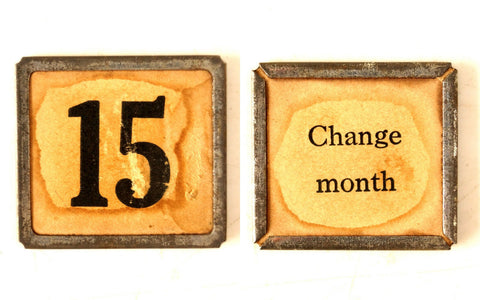"Vintage Metal Number Square Tile ""15 / text"", Double-Sided (c.1920s) Sepia - ThirdShiftVintage.com"