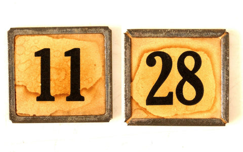 "Vintage Metal Number Square Tile ""11 / 28"", Double-Sided (c.1920s) Sepia - thirdshift"