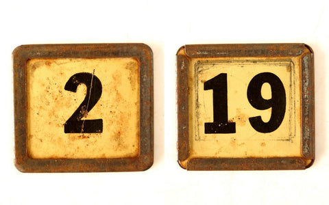"Vintage Metal Number Square Tile ""2 / 19"", Double-Sided (c.1920s) - thirdshift"