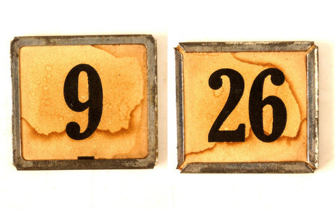 "Vintage Metal Number Square Tile ""9 / 26"", Double-Sided (c.1920s) Sepia - ThirdShiftVintage.com"